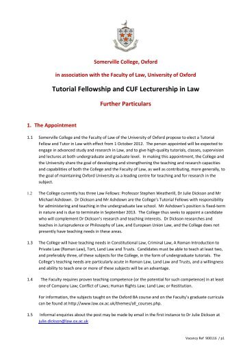 Tutorial Fellowship and CUF Lecturership in Law - Somerville College