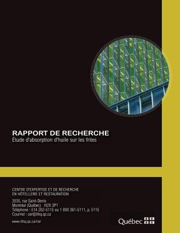 Étude d'absorption d'huile sur les frites - Institut de tourisme et d ...