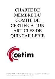 CHARTE DE MEMBRE DU COMITE DE CERTIFICATION ... - Cetim