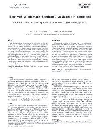 Beckwith-Wiedemann Sendromu ve Uzamış ... - Selçuk Tıp Dergisi