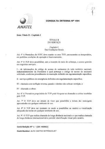 Análise da Consulta Interna - Parte 1 - Anatel