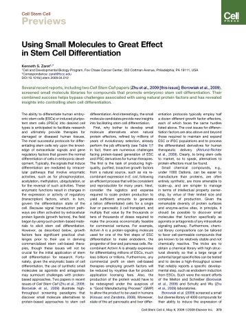 Using Small Molecules to Great Effect in Stem Cell Differentiation