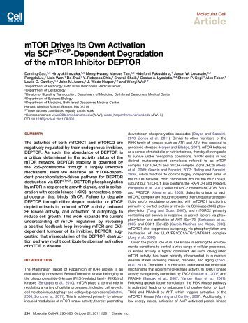 TrCP-Dependent Degradation of the mTOR Inhibitor ... - ResearchGate