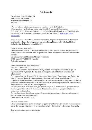 Avis de marché Département de publication : 59 ... - Ville de Wattrelos