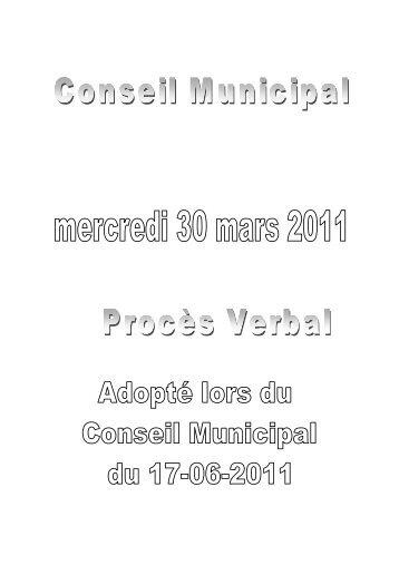 Procès-verbal Conseil Municipal 30-03-2011 - Ville de Wattrelos