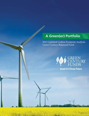 Carbon Footprint Analysis - Green Century Funds