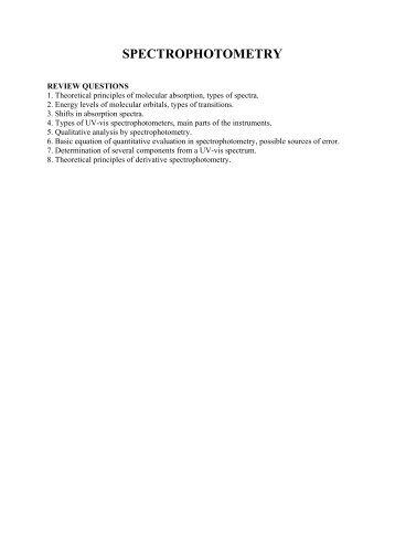 Manual for UV-vis spectrophotometry laboratory