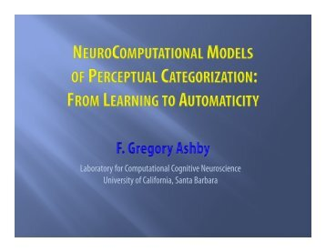 Neuro-computational Models of Perceptual Categorization