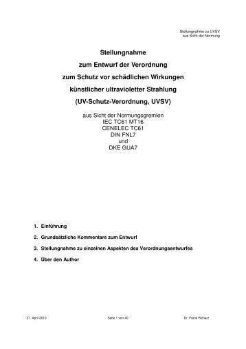 Stellungnahme zum Verordnungsentwurf aus Sicht der ...