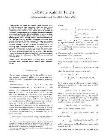 Cubature Kalman Filters - Cognitive Systems Laboratory - McMaster ...