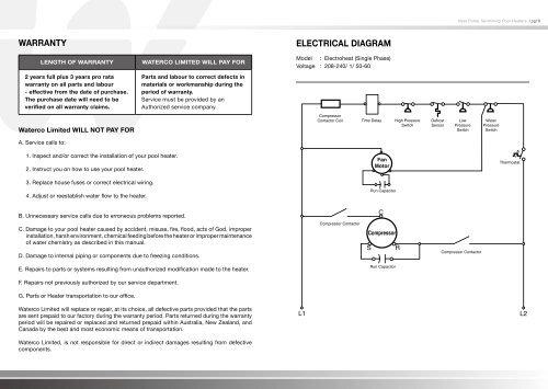 warranty electrical diagram  poolheatpumps