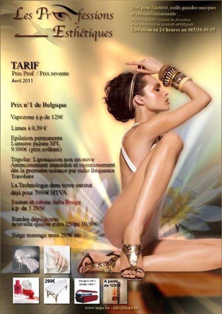 Catalogue & tarif - Les Professions Esthétiques