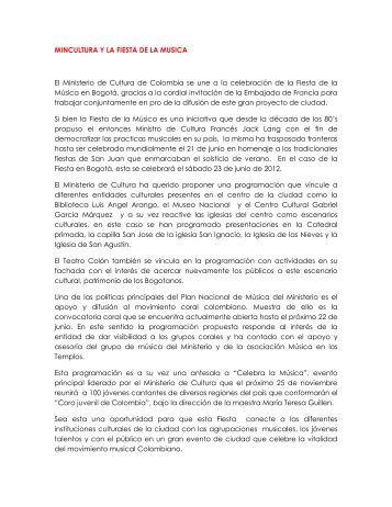 MINCULTURA Y LA FIESTA DE LA MUSICA El Ministerio de Cultura ...