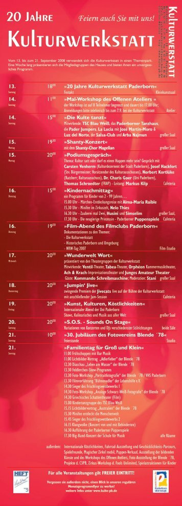 20 Jahre Kulturwerkstatt - Paderborn.de