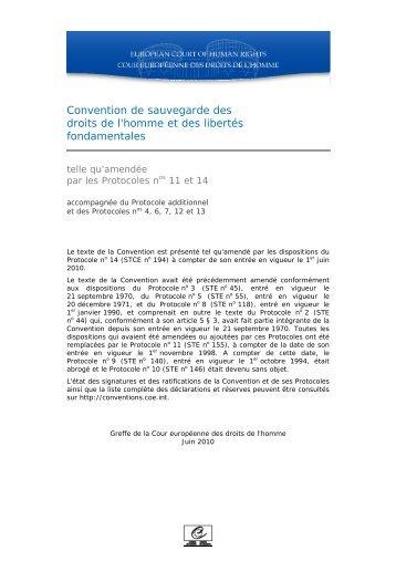 Convention de sauvegarde des droits de l'homme et des libertés ...