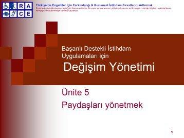 Ünite 5: Paydaşlari yönetme