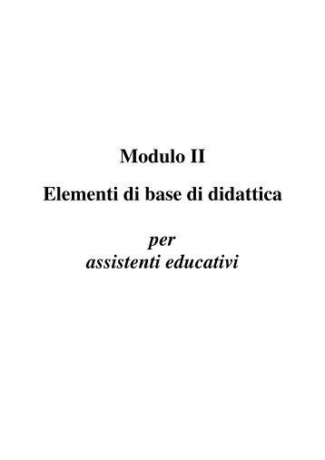 Elementi di base di didattica; Modulo 2 per assistenti educativi