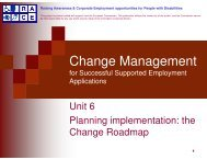 the Change Roadmap - Supported employment PWD employment ...