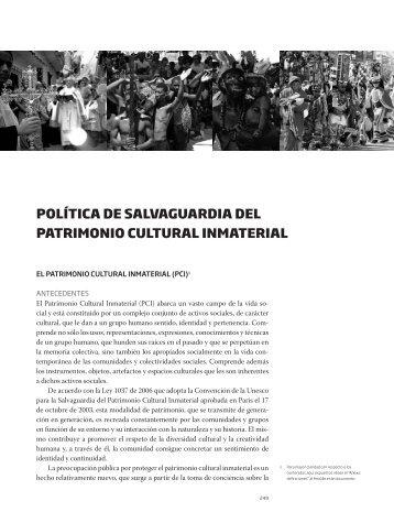 política de salvaguardia del patrimonio cultural inmaterial