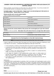 consent form and residential information sheet for ... - Alice Solar City