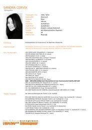 SANDRA CERVIK - Doris Fuhrmann Management