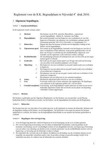 Reglement voor de R.K. Begraafplaats te Nijverdal 4 druk 2010.