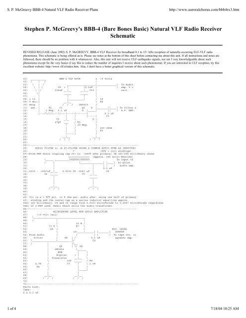 SP McGreevy BBB-4 Natural VLF Radio Receiver     - LANDFALL NET