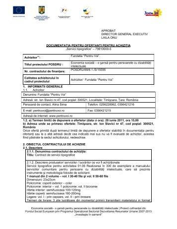Servicii tipografice - Fundatia Pentru Voi