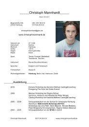 Komplette Vita als PDF - Christoph Mannhardt