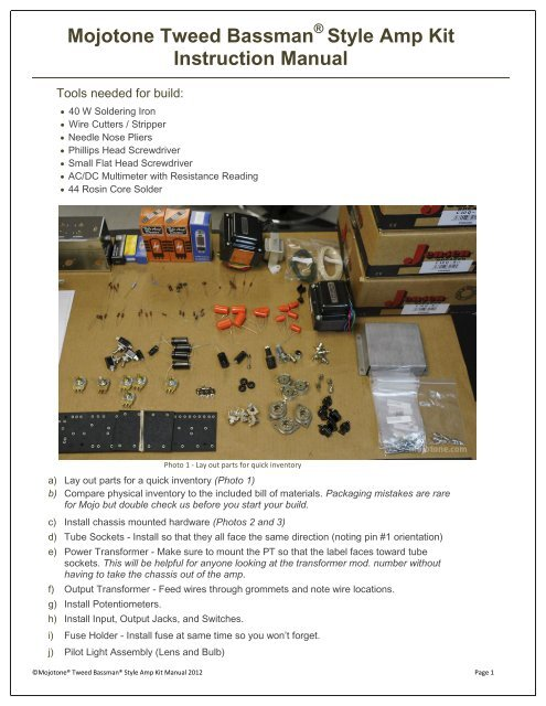 Mojotone Tweed Bassman Style Amp Kit Instruction