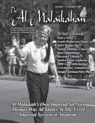 October / November 2007 - Al Malaikah Shrine Temple