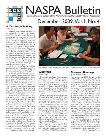 December 2009: Vol.1, No. 4 - North American SCRABBLE Players ...