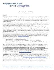 Membership Renewal Letter - Congregation B'nai Shalom