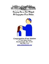 Becoming Bar or Bat Mitzvah - Congregation B'nai Shalom