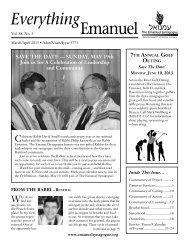 Everything Emanuel March-April 2013 - The Emanuel Synagogue