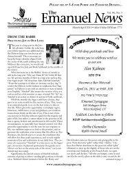 Emanuel News March – April 2011 - The Emanuel Synagogue