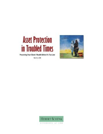 Asset Protection in Troubled Times