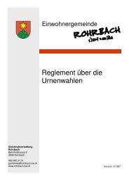 Reglement über die Urnenwahlen - Rohrbach