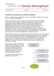 Proceduren ved bedømmelse af kliniske retningslinjer - Center for ...