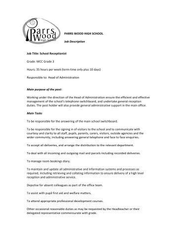 Job Description Interfaith Clinic Job title: MAIN RECEPTIONIST ...