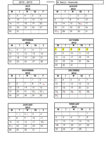 2012-2013 Calendar - Stmarysgreenville.org