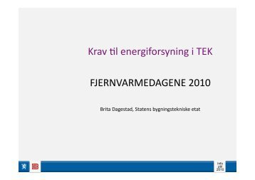 Krav til energiforsyning i TEK