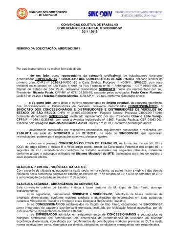 convenção coletiva de trab - Sincodiv SP