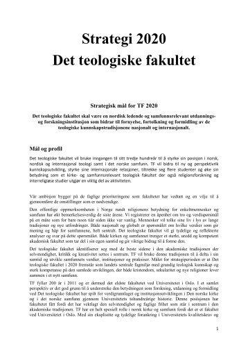 Strategisk plan 2010 - 2020 (pdf) - Det teologiske fakultet