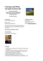 Literatur und Wein im Saale-Unstrut-Tal - WBG