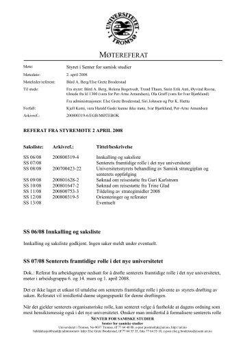 Referat fra styremøte 2. april - Senter for samiske studier