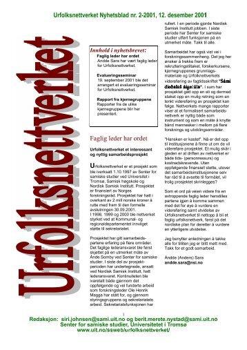 Nr. 2-2001 - pdf-format - Senter for samiske studier - Universitetet i ...