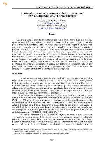 A DIMENSÃO SOCIAL DO ENSINO DE QUÍMICA ... - Axpfep1.if.usp.br
