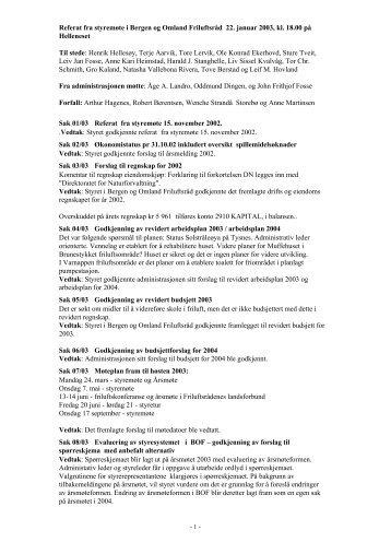 Referat fra styremøte i Bergen og Omland Friluftsråd 22. januar 2003 ...