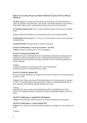 Referat fra styremøte i Bergen og Omland Friluftsråd, 30. januar ...